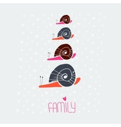 snail family love card vector image vector image