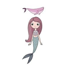 beautiful little mermaid and whale siren sea vector image