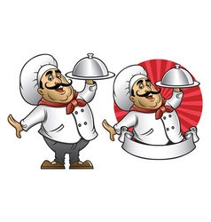 cartoon of chef presenting the dish vector image