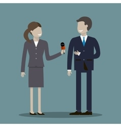 Female Journalist Interviewing Businessman vector image vector image