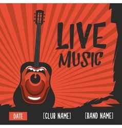 Live music poster with a screaming guitar Vintage vector image vector image