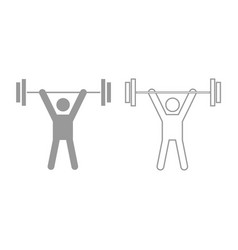 man uping weight icon grey set vector image