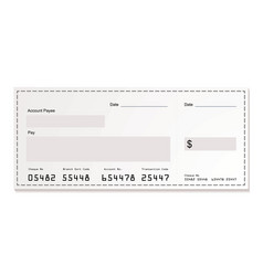 white dollar cheque vector image vector image