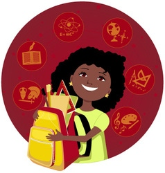 Latina girl going to school vector image vector image