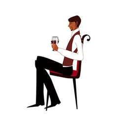 Side view of man sitting on chair vector image