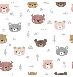tribal seamless pattern with cartoon bears vector image vector image