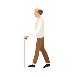 Bald man elderly walking with cane stick vector