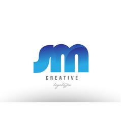 blue gradient sm s m alphabet letter logo vector image