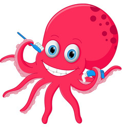 cute octopus cartoon with toothbrush and toothpast vector image