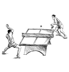 Hand sketch table tennis players vector image vector image