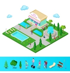 Isometric City Park with Swimming Pool vector image vector image