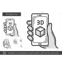 Three d design line icon vector