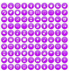 100 child center icons set purple vector image