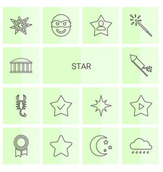 14 star icons vector image