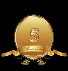 5th golden anniversary birthday seal icon vector image
