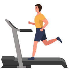 A sporty man is training on treadmill running vector