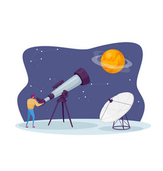 Astronomy science male character watching on vector