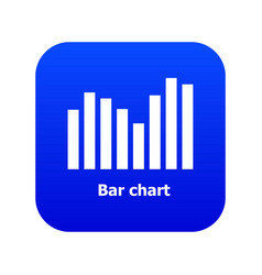 Bar chart icon blue vector