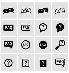 black faq icon set vector image