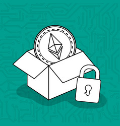 box carton with virtual coin ethereum vector image