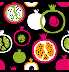 brush grunge pomegranate seamless pattern vector image