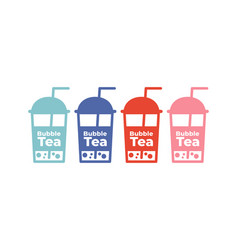 bubble milk tea icons set colorful simple flat vector image
