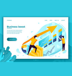 Business boost rising arrow with chart vector