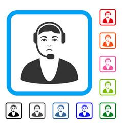 call center guy framed unhappy icon vector image