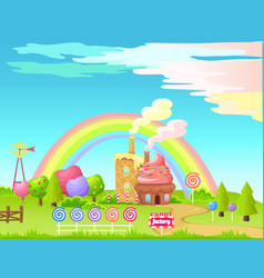 Candy factory fairy cartoon flat concept vector