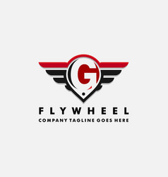 Cars logo wheel and wings with letter g vector