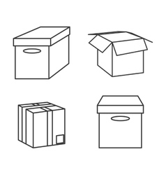 carton box package delivery icon set vector image