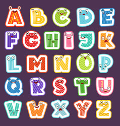 cartoon alphabet with emotions colored cute font vector image