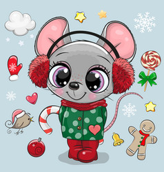cartoon mouse girl in a coat and fur headphones vector image