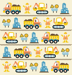 Cartoon seamless pattern with construction vector