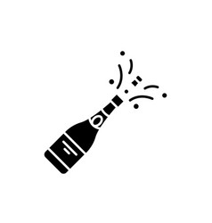 champagne opening black icon sign on vector image