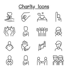 Charity kindness friendship care icon set in thin vector