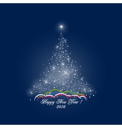 Christmas Tree of Lights on Dark Blue Background vector