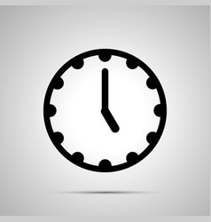 clock face showing 5-00 simple black icon vector image