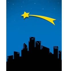 Comet and stars for the city vector