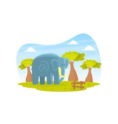 Cute elephant on beautiful african landscape wild vector