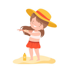 cute girl applying sunscreen at beach kids vector image
