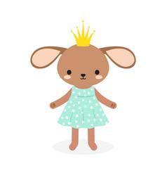 cute princess rabbit in crown vector image