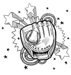 doodle pop baseball glove vector image