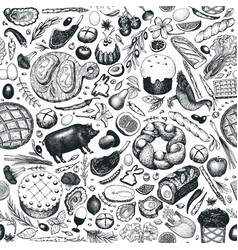 Easter dinner seamless pattern hand drawn vector