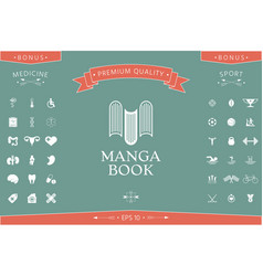 elegant logo with book symbol - like the letter m vector image