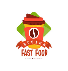 fast food logo design badge with coffee vector image