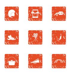 film marathon icons set grunge style vector image