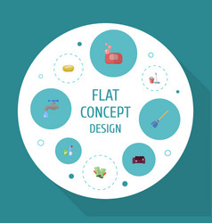 flat icons sofa faucet foam and other vector image