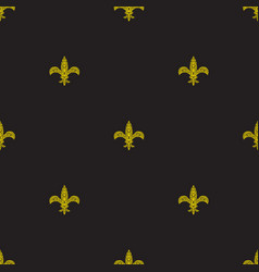 Fleur de lys black and yellow simple seamless vector
