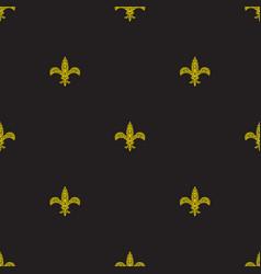 fleur de lys black and yellow simple seamless vector image